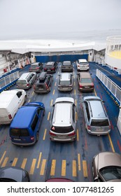 ESTONIA, EUROPA-CIRCA MAR, 2018: Vehicles are on car-and-passenger ferry Virtsu mainland to Kuivastu, Saaremaa island. TS Laevad is an Estonian ferry company which operates two routes in Baltic Sea