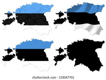 Estonia flag over map collage