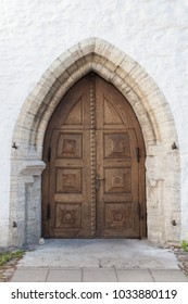 ESTONIA - JULY 22, 2017: Doors of the Cathedral of Saint Mary the Virgin in Tallinn, also known as Dome Church, circa 2017