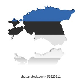 Estonia map flag 3d render with reflection illustration