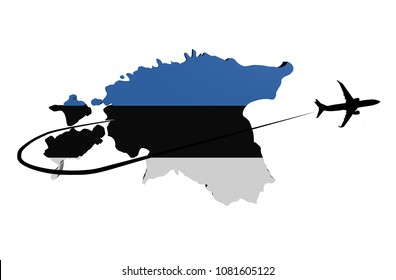 Estonia map flag with plane silhouette and swoosh 3d illustration