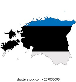 Estonia map image painted in the colors of the national flag