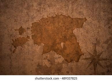 estonia map on a old vintage crack paper background