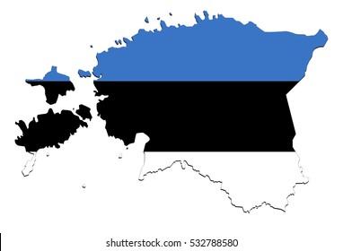 Estonia map on  white background, no shadows