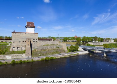 Estonia. Narva Castle. Herman's castle. View from the wall of the Ivangorod Fortress.