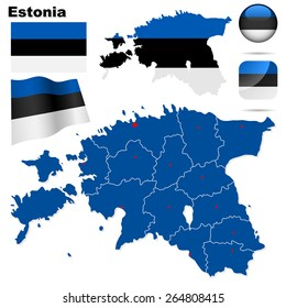 Estonia set. Detailed country shape with region borders, flags and icons isolated on white background.