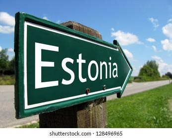 Estonia signpost along a rural road