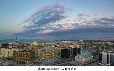 ESTONIA, TALLINN 01.12.2018 Aeriel view of center City Tallinn Estonia