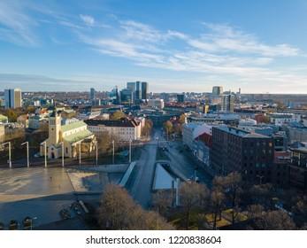 Estonia, Tallinn - 04.11.2018 : Aerial view of CITY TALLINN ESTONIA