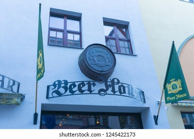 Estonia. Tallinn. 05 may 2018. Sign restaurant Beer House in the old town