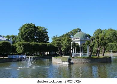 ESTONIA, TALLINN / JUNE 19 / 2013 - Pond on the Kadriorg park in Tallinn.