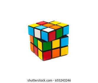 Estonia, Tallinn, May 30, 2017. Rubik's cube on white background