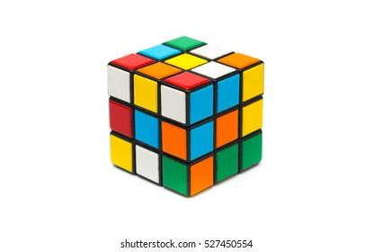 Estonia, Tallinn, November 30, 2016. Rubik's cube on white background