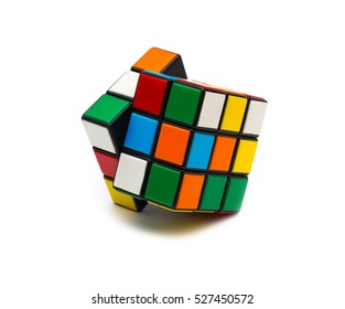 Estonia, Tallinn, November 30, 2016. Rubik's cube on white background