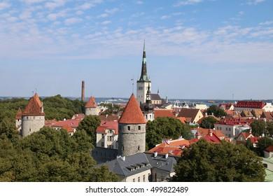 Estonia, Tallinn, panorama of Old City with St. Olaf`s Church