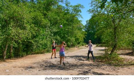 Estonia, Tallinn, September 07, 2017.   Teenagers playing volleyball on nature
