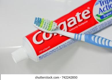 Estonia, Tallinn, September 28, 2017.Colgate toothbrush and toothpaste