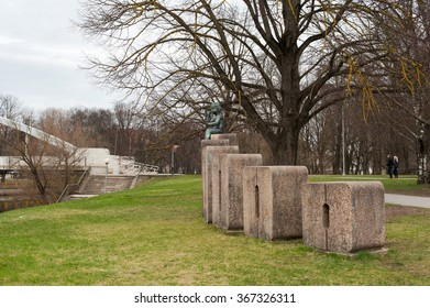 ESTONIA, TARTU - APRIL 19, 2015: Group of sculptures to celebrate the birth of the 100,000th resident of Tartu
