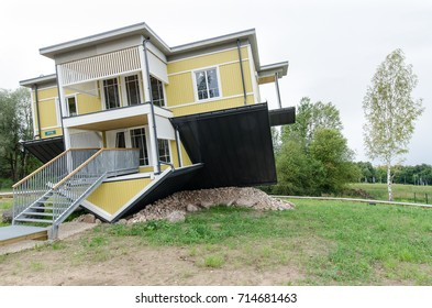 Estonia - Tartu - August 17th, 2017: 'Upside down house' is one of the newest tourist attractions in Tartu.