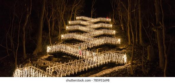 Estonia - Viimsi - December 27th, 2017: new illuminated zigzag stairs calling 'Põhjakonna trepp'. Architectural gift for the 100th birthday of the Republic of Estonia