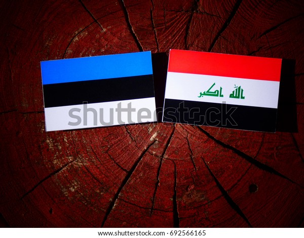 Estonian flag with Iraqi flag on a tree stump isolated