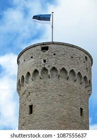 Estonian flag on Hermann Tower in the Old Town of Tallinn, Estonia, Europe