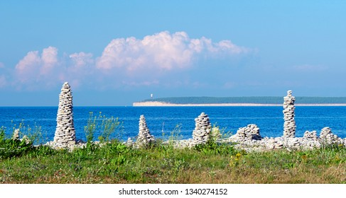 Estonian landscape with sea in Saaremaa Island.