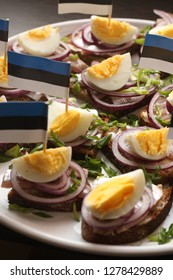 Estonian traditional sandwich with anchovy