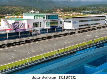 Estoril, Portugal - April 2018: the tribune and the track at Formula racing autodrome