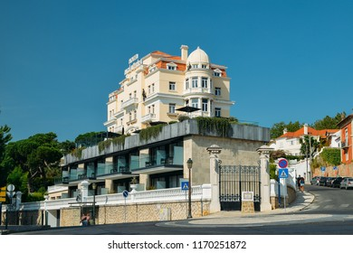 Estoril, Portugal - August 30th, 2018: Facade of Belle Epoque style Hotel Inglaterra in Estoril, famous for hosting WWII-era spies