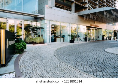 Estoril, Portugal - Dec 6, 2018: Entrance to Hotel Intercontinental in Estoril Portugal