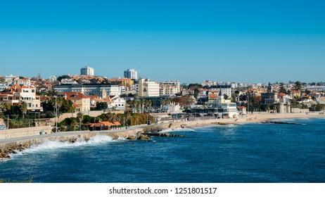 Estoril, Portugal - Dec 6, 2018: High perspective view of Estoril coastline near Lisbon in Portugal