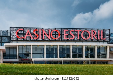 Estoril, Portugal - June 4th, 2018: Facade of the Casino Estoril in Estoril city, just outside of Lisbon. One of the largest casinos in Europe