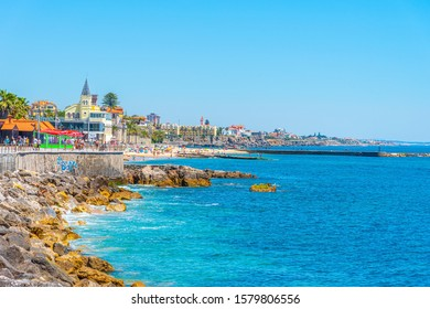 ESTORIL, PORTUGAL, MAY 31, 2019: People are strolling on seaside of Estoril, Portugal