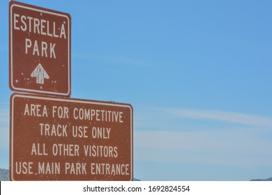 Estrella Park and Competitive Track Use Only Signs in Goodyear, Maricopa County, Arizona USA