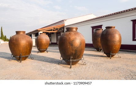 ESTREMOZ, PORTUGAL – AUGUST 22, 2018: Huge clay wine containers in Alentejo region, Portugal.
