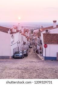 Estremoz, Portugal – August 22, 2018: Direita Street in Estremoz, Evora district, Portugal, at sunset.