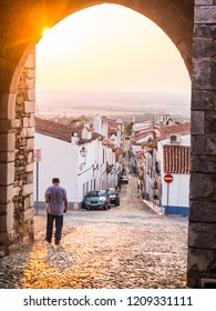 Estremoz, Portugal – August 22, 2018: Direita Street in Estremoz, Evora district, Portugal, at sunset, as seen from Arco de Santarem.