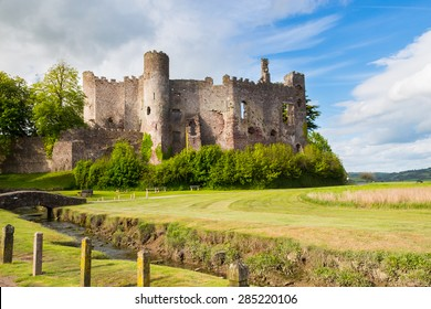 Estuary of the River  with Laugharne Castle  in the background Carmarthenshire, Wales UK Europe
