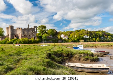 Estuary of the River Taf with Laugharne Castle  in the background Carmarthenshire, Wales UK Europe