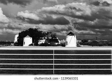 Estuary wind mills landscape