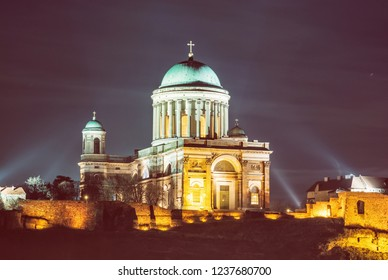 Esztergom basilica, Hungary. Night scene. Cultural heritage. Place of worship. Religious architecture. Beauty photo filter.