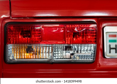 Esztergom Hungary April 18, 2019: Lada sedan tail light assembly on a Classic Auto show from the Soviet are.