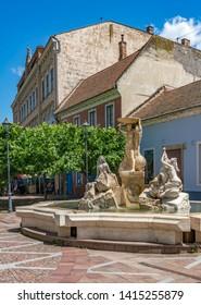 ESZTERGOM, HUNGARY JUNE 1, 2019: Szechenyi square in center of Esztergom city, Hungary