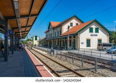 Esztergom, Hungary - June 10, 2019: Esztergom railway station.