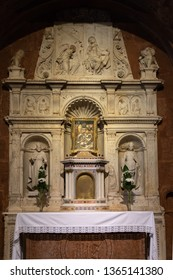 Esztergom, Hungary - May 25, 2018: Close-up of the altar in the Esztergom basilica in Hungary