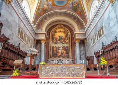 Esztergom, Hungary - May 26, 2019 :  Main altar of Esztergom Basilica. Primatial Basilica of the Blessed Virgin Mary Assumed to Heaven and St Adalbert. Mother church of the Archdiocese of Esztergom