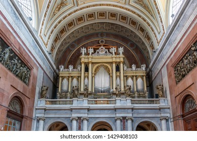 Esztergom, Hungary - May 26, 2019 : View of the pipe organ inside Esztergom Basilica. Primatial Basilica of the Blessed Virgin Mary Assumed to Heaven and St Adalbert.