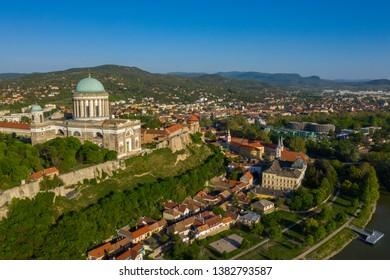 Esztergom Roman Catholic Basilica next to River Danube in summer, Hungary, Europe aerial landscape 4K stock video