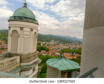 Esztergom with view on the town. The Esztergom is on the river Danube.